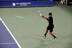 Forehand - Moment after Rafael Nadal hitting a left-handed forehand at the 2010 US Open.
