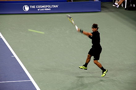 Moment after Rafael Nadal hitting a left-handed forehand at the 2010 US Open.