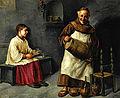 Raffaello Frigerio (1875-1940) Moine et enfant de choeur à la cave à vin.jpg