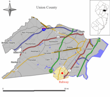 Rahway highlighted in Union County. Inset: location of Union County highlighted in the State of New Jersey.