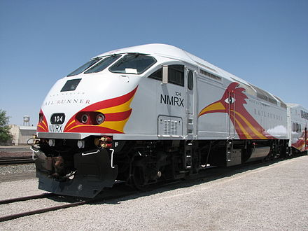 The New Mexico Rail Runner Express, with its northern terminus in Santa Fe, services multiple locations in the state. Rail runner nmrx-104.jpg