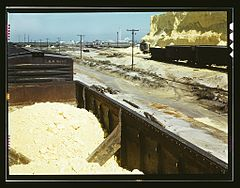 Railroad cars loaded with sulphur, Freeport Sulphur Co 1a35436v.jpg