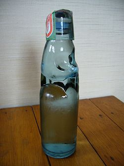A Lemonade Ramune Bottle Type Soft Drink