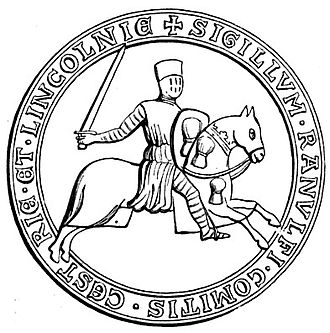 "Beeston Castle - SIGILLUM RANULFI COMITIS CESTRIE ET LINCOLNIE (""Seal of Ranulf Count of Chester and of Lincoln""). His arms of a ""garb of wheat"" are visible on his shield and on his horse's caparison, and became common as ""arms of patronage"" borne by the later Cheshire gentry (See e.g. Scrope v Grosvenor)"