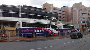 RailAir - First Berkshire coaches on the service to Heathrow Airport outside Reading station