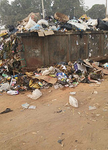 Refuse skip at Osisioma Junction