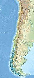 Laguna del Maule is located about in the middle of Chile