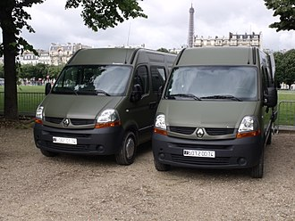 Van - Two Renault Master van of the French Army in Paris.