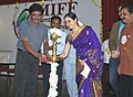 Renowned Tamil Film Director, Shri Bharathiraja lighting the lamp to inaugurate the 13th Mumbai International Film Festival, in Chennai. Actress, Smt. Devayani Rajakumaran, the Vice Consul of Consulate General of Russia.jpg