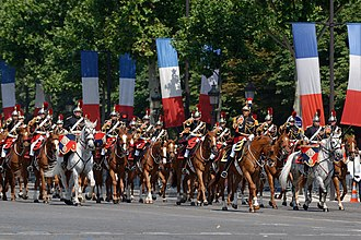 Mounted band - Mounted members of the French Republican Guard Band, a fanfare band during Bastille Day in 2013.