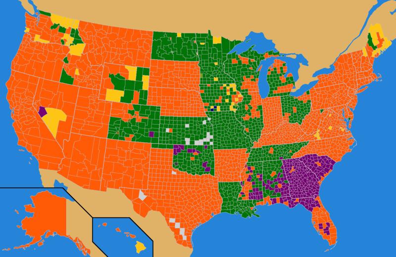 Key: Gingrich purple, Santorum green, Romney orange, Paul yellow, Perry blue