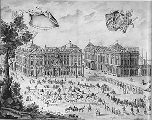 Bishopric of Würzburg - Bishop Friedrich Carl von Schönborn making a solemn entry on the grounds of his new residenz, still under construction