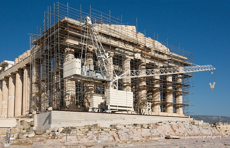 File:Restoration work Parthenon facade Acropolis Athens Greece.jpg
