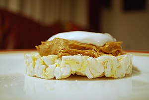 Fluffernutter - An open-faced variation of the fluffernutter sandwich using a rice cracker in place of sliced bread.