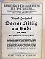 Richard Hülsenbeck - Doctor Billig am Ende, 1921 - Schutzumschlag.jpg