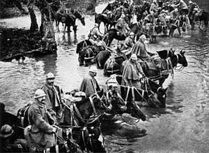 Horses in World War I - French horsemen crossing a river on their way to Verdun.
