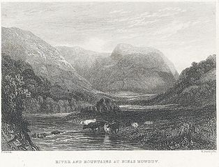 River and mountains at Dinas Mowddy