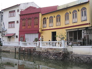 Buildings on the Melaka River at Melaka, Malay...