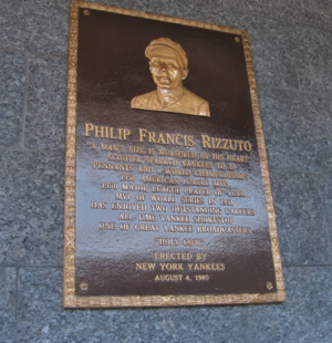 Phil Rizzuto - Phil Rizzuto's plaque in Monument Park.