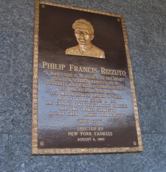 Phil Rizzuto - Phil Rizzuto's plaque in Monument Park.