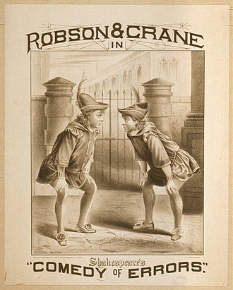 The Comedy of Errors - Poster for an 1879 production on Broadway, featuring Stuart Robson and William H. Crane