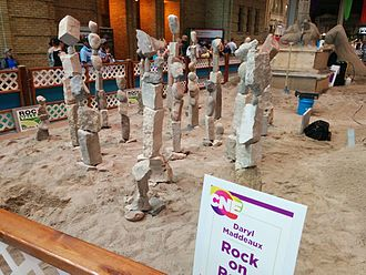 Canadian National Exhibition - Rocks balanced as part of sand sculptures