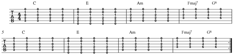 Rock guitar progression using open chords (8 bars) 02