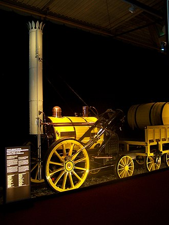 "Stephenson's Rocket - Replica of the Rocket in its original condition in the Transport Museum in Nuremberg during the exhibition ""Adler, Rocket and Co."""
