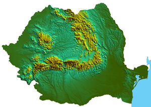 Topography of Romania - Physical map of Romania showing the Carpathian Mountains