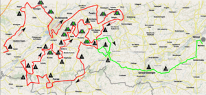 2011 Tour of Flanders - Map of the Tour of Flanders 2011, starting with the first hill.