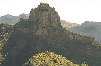 Volcanic plug - Roque Bentayga from the town of Artenara