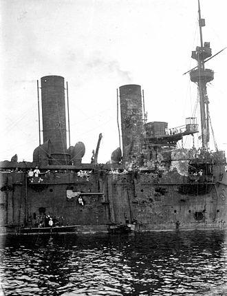 Russian cruiser Rossia - Image: Rossia Side Damage