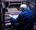Roubaix An old jacquard weaving loom of wood construction.JPG
