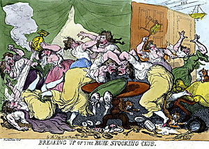 "Blue Stockings Society - Satiric drawing by Thomas Rowlandson (1756–1827), ""Breaking Up of the Blue Stocking Club"" (1815)"