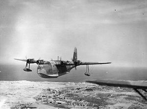 RAF Aboukir - A Short Sunderland flying over the RAF Aboukir after taking off from Aboukir Bay