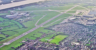 Warton Aerodrome - Overview of the airfield runways and structures looking WSW in 2006