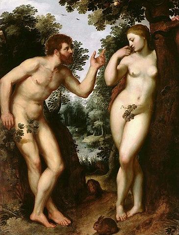 Копия «Адама и Евы» Рафаэля. Масло по дереву. 182,5 × 158 см. Антверпен, Дом Рубенса