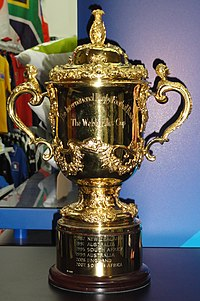 "A gold cup with two handles inscribed with ""The International Rugby Football Board"" and ""The Web Ellis Cup"""