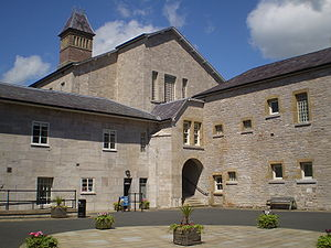 View of the courtyard of Ruthin Gaol museum, R...
