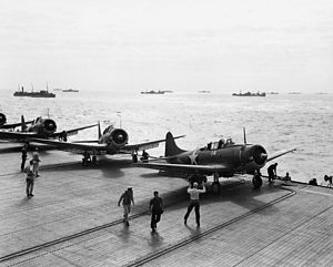USS Santee (CVE-29) - SBD bombers on Santee during convoy duty in the Atlantic.