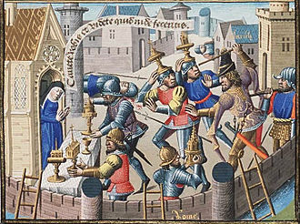 15th-century illustration depicting the Sack of Rome (410) by the Visigothic king Alaric I Sack of Rome by Alaric - sacred vessels are brought to a church for safety (2nd of 2).jpg