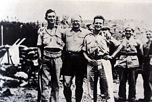 Moshe Dayan - Dayan (left) with Yitzhak Sadeh and Yigal Allon, Kibbutz Hanita, 1938