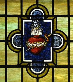 Saint John the Baptist Church (Harrison, Ohio) - interior, stained glass, Immaculate Heart, detail.jpg
