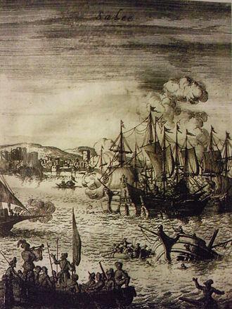 gravure en noir et blanc de bataille navale