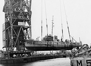 Herman the German (crane vessel) - Demag 350 ton floating crane salvaging a minesweeper scuttled by Danes, 1943