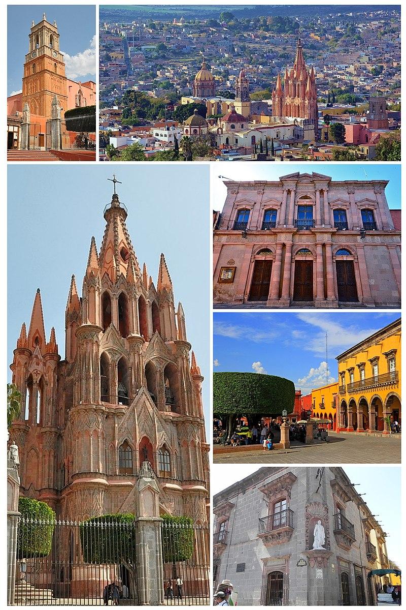 From top to bottom: Left: - Inmaculada Concepcion Temple - San Miguel de Allende Cathedral Right: - Panorama view of Cathedral and downtown San Miguel de Allende - Angela Peralta Teather - Allende Garden Park - San Miguel de Allende Historic Museum