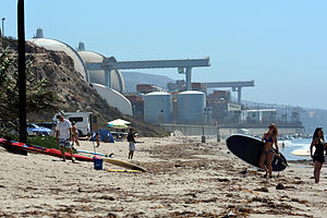 San Onofre Nuclear Generating Station - The station as seen from San Onofre State Beach to the north.