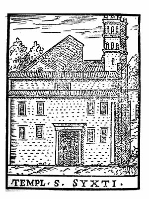 Basilica of San Sisto Vecchio - Woodcut of San Sisto Vecchio in the 16th century, from Le cose maravigliose dell'alma città di Roma (Venice: Girolamo Francino, 1588)