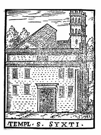 San Sisto Vecchio - Woodcut of San Sisto Vecchio in the 16th century, from Le cose maravigliose dell'alma città di Roma (Venice: Girolamo Francino, 1588)