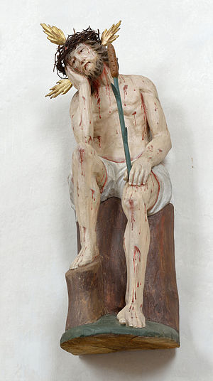 Tha man of sorrows in a polychromed baroqcue sculpture in Villanders Sout Tyrol